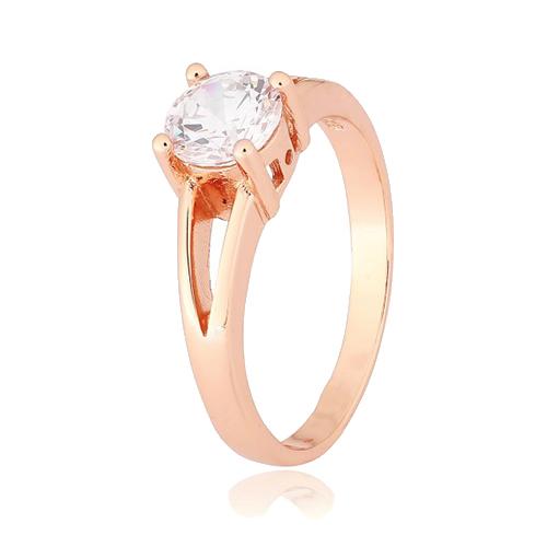 Серебряное позолоченное кольцо Мелита с прозрачным фианитом 000028408