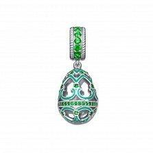 Серебряный кулон-шарм Фаберже с зеленой эмалью и фианитами
