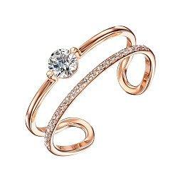 Двойное кольцо из красного золота с кристаллами Swarovski 000129716