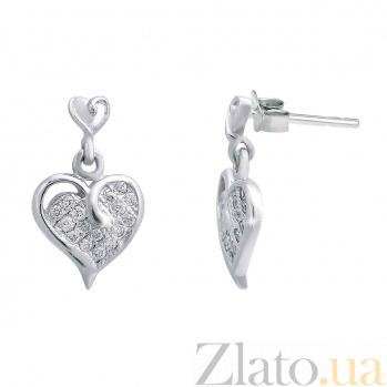 """Серебряные серьги гвоздики с подвеской """"Сердце"""" AQA--S228560163"""