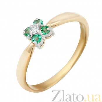 Золотое кольцо Волшебный квинтет в комбинированном цвете с изумрудами и бриллиантом VLA--10112