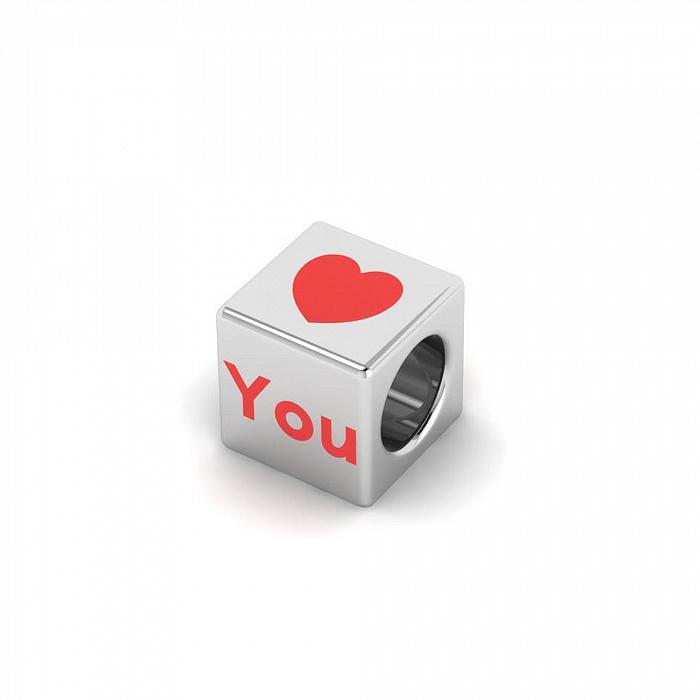 Серебряный шарм Люблю тебя с эмалью 000082120