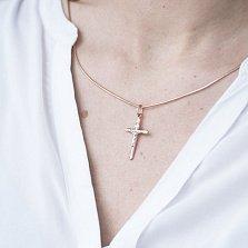 Крестик Любовь в красном золоте
