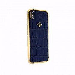 Apple IPhone XS MAX Noblesse LUMINARY DARK BLUE в синей коже крокодила и золоте