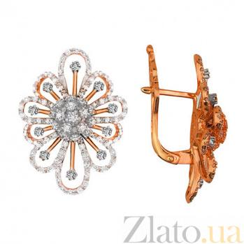 Серьги из красного золота с цирконием Снежинка VLT--ТТ2213-2