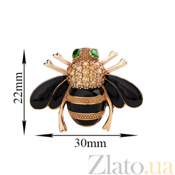 Серебряная позолоченная брошка Пчёлка с цирконием и эмалью 000022699