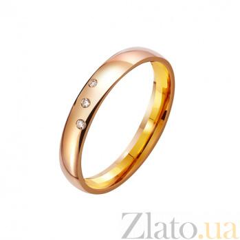 Обручальное кольцо из красного золота Теорема любви с фианитами TRF--412235