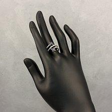 Серебряное кольцо Бабочки с тройной шинкой, белыми и синими фианитами