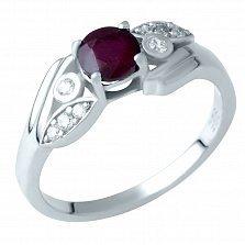 Серебряное кольцо Бриана с рубином и фианитами