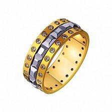 Золотое обручальное кольцо с фианитами Роскошная свадьба