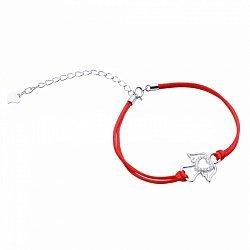 Браслет из серебра и шелковой красной нити Ангел с фианитами 000099327