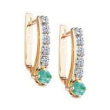 Золотые серьги с изумрудами и бриллиантами Кейт