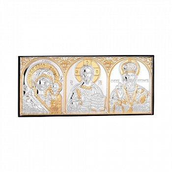 Серебряная икона триптих Божья Матерь Казанская, Спаситель, Николай Чудотворец 000140128
