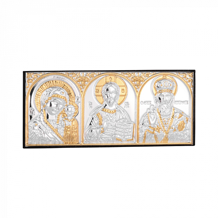 Серебряная икона триптих Божья Матерь Казанская, Спаситель, Николай Чудотворец 000140128 000140128