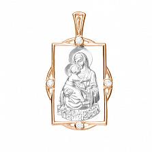 Серебряная ладанка с позолотой Владимирская Божья Матерь