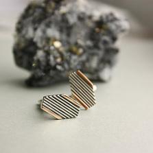 Серебряные запонки с золотыми вставками Командор