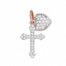 Серебряный крестик Верю и люблю с фианитами и позолотой