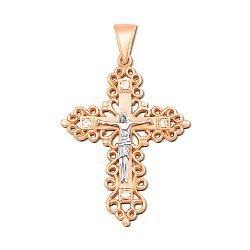 Золотой крестик в комбинированном цвете с фианитами 000129618