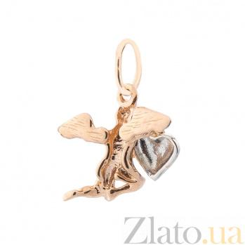 Золотой кулон Ангелочек в комбинированном цвете с сердцем 000082503