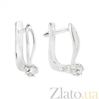 Золотые серьги с бриллиантами Марианна E0696/бел