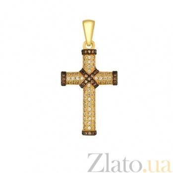 Декоративный крест из желтого золота Спаситель VLT--ТТ3323-1