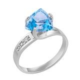 Кольцо в белом золоте Марта с голубым топазом и фианитами