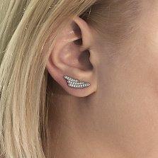Серебряные серьги-каффы Восход с кристаллами циркония