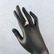 Серебряное кольцо Хестур с оранжевым кораллом и фианитами