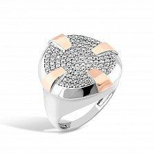 Серебряное кольцо Пьетра с золотыми накладками и фианитами