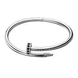 Серебряный браслет с черными фианитами в стиле Картье 000093472