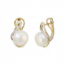 Золотые серьги Оливия с бриллиантами и жемчугом