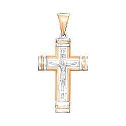 Золотой крестик в комбинированном цвете 000137803