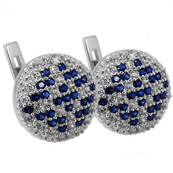 Серебряные серьги с синими кристаллами Оберег 000011321