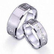 Золотое обручальное кольцо Эллада с цирконием