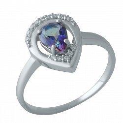 Серебряное кольцо с топазом мистик, фианитами и родированием 000128931