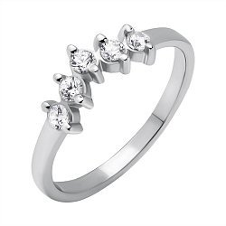 Серебряное фаланговое кольцо с фианитами 000119116