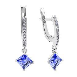 Серебряные серьги-подвески с синим алпанитом и фианитами 000094590