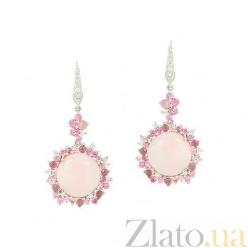 Золотые серьги Лоренсия с розовым опалом, турмалином, сапфирами и бриллиантами 1С113-0115