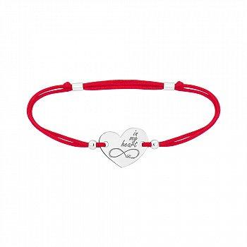 Шелковый браслет Eternal Love in My Heart с серебряной вставкой-сердцем 000064789