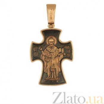 Крестик из красного золота с черным родированием Святой Николай VLT--КС1-3043-3