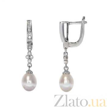 Серебряные серьги с подвесками из жемчуга Афродита AQA--E00547PW