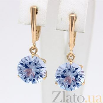 Золотые серьги с голубым топазом Азиза 000024401