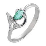 Серебряное кольцо с изумрудом  Бесконечность