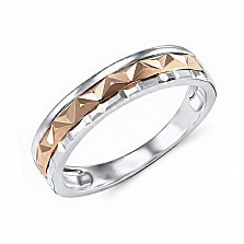 Обручальное кольцо Эмелина из красного и белого золота