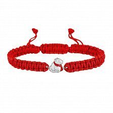 Детский плетеный браслет Мишка в шарфике с красной эмалью, 10-20см