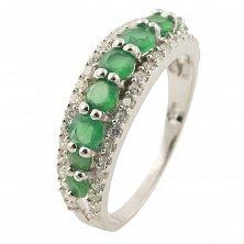 Серебряное кольцо Аглая с зеленым агатом и фианитами