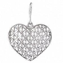 Серебряная подвеска Сердце с насечкой