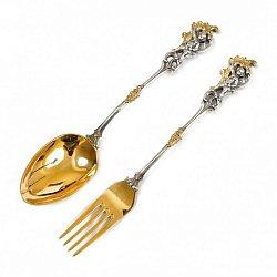 Набор десертный (вилка и ложка) из серебра с позолотой 000004714