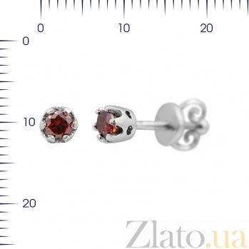 Серебряные серьги-пуссеты Венди с красным цирконием 000081813