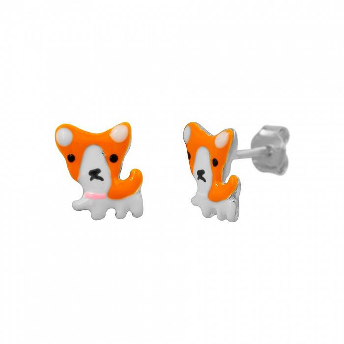 Серебряные серьги-пуссеты Щенки корги с оранжевой и белой эмалью 000081923